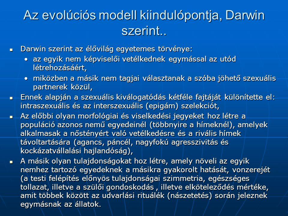 Az evolúciós modell kiindulópontja, Darwin szerint.. Darwin szerint az élővilág egyetemes törvénye: Darwin szerint az élővilág egyetemes törvénye: az