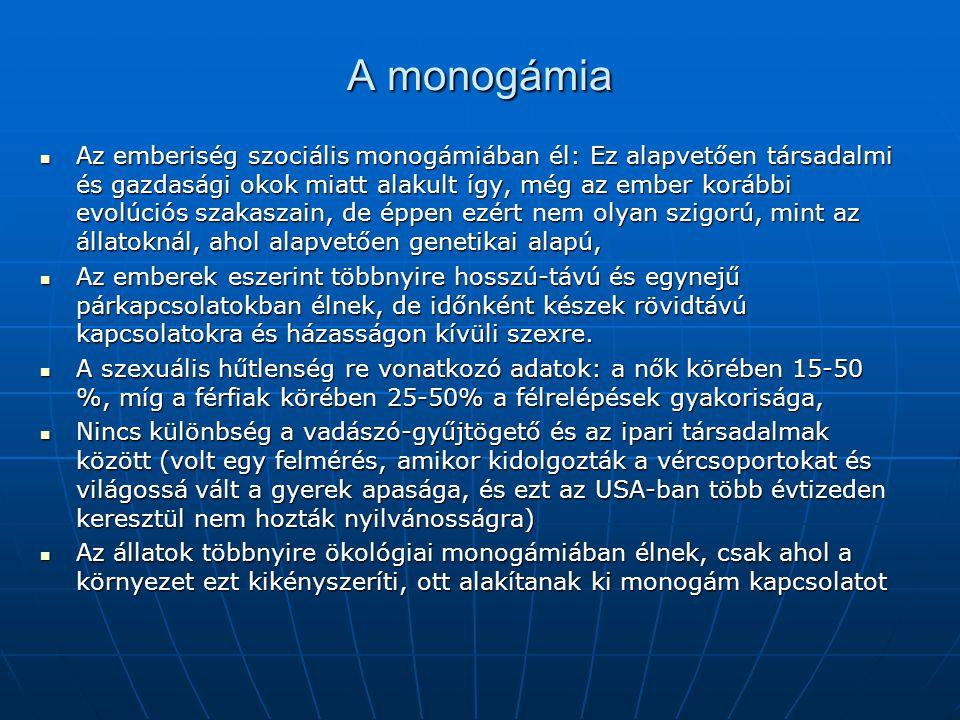 A monogámia Az emberiség szociális monogámiában él: Ez alapvetően társadalmi és gazdasági okok miatt alakult így, még az ember korábbi evolúciós szakaszain, de éppen ezért nem olyan szigorú, mint az állatoknál, ahol alapvetően genetikai alapú, Az emberiség szociális monogámiában él: Ez alapvetően társadalmi és gazdasági okok miatt alakult így, még az ember korábbi evolúciós szakaszain, de éppen ezért nem olyan szigorú, mint az állatoknál, ahol alapvetően genetikai alapú, Az emberek eszerint többnyire hosszú-távú és egynejű párkapcsolatokban élnek, de időnként készek rövidtávú kapcsolatokra és házasságon kívüli szexre.