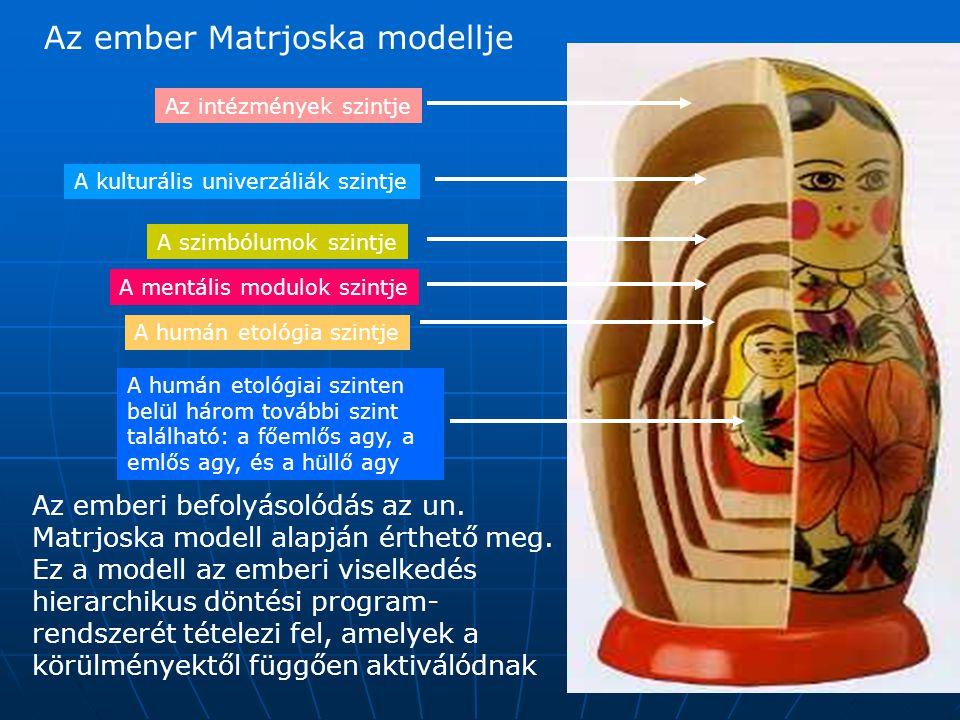 Az intézmények szintje A kulturális univerzáliák szintje A szimbólumok szintje A mentális modulok szintje A humán etológia szintje A humán etológiai szinten belül három további szint található: a főemlős agy, a emlős agy, és a hüllő agy Az ember Matrjoska modellje Az emberi befolyásolódás az un.
