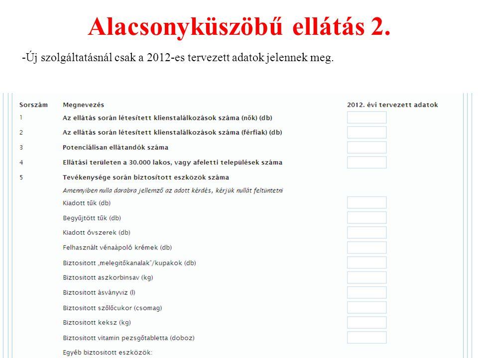 Alacsonyküszöbű ellátás 2. -Új szolgáltatásnál csak a 2012-es tervezett adatok jelennek meg.