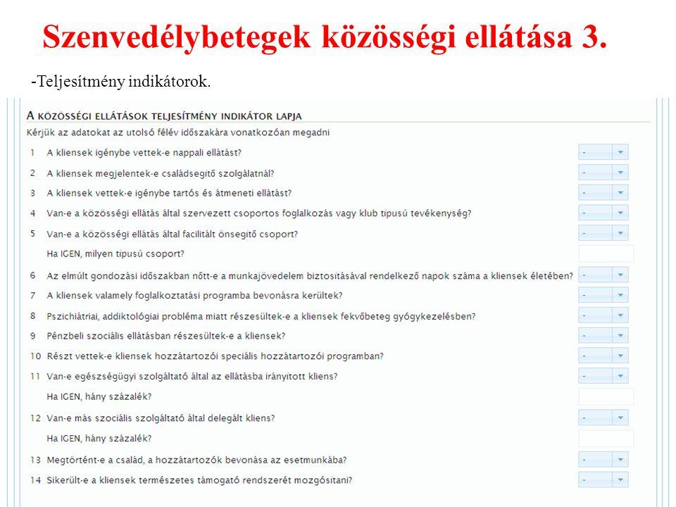 Szenvedélybetegek közösségi ellátása 3. -Teljesítmény indikátorok.