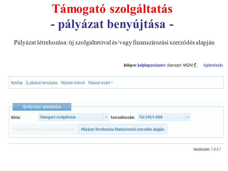 Támogató szolgáltatás - pályázat benyújtása - Pályázat létrehozása: új szolgáltatóval és/vagy finanszírozási szerződés alapján
