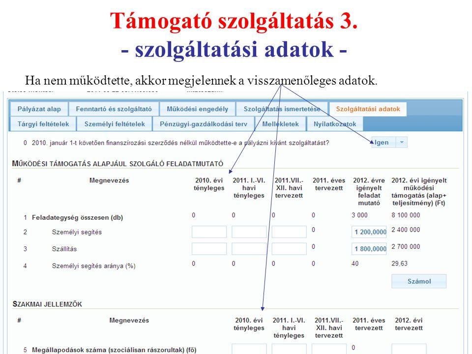 Támogató szolgáltatás 3. - szolgáltatási adatok - Ha nem működtette, akkor megjelennek a visszamenőleges adatok.