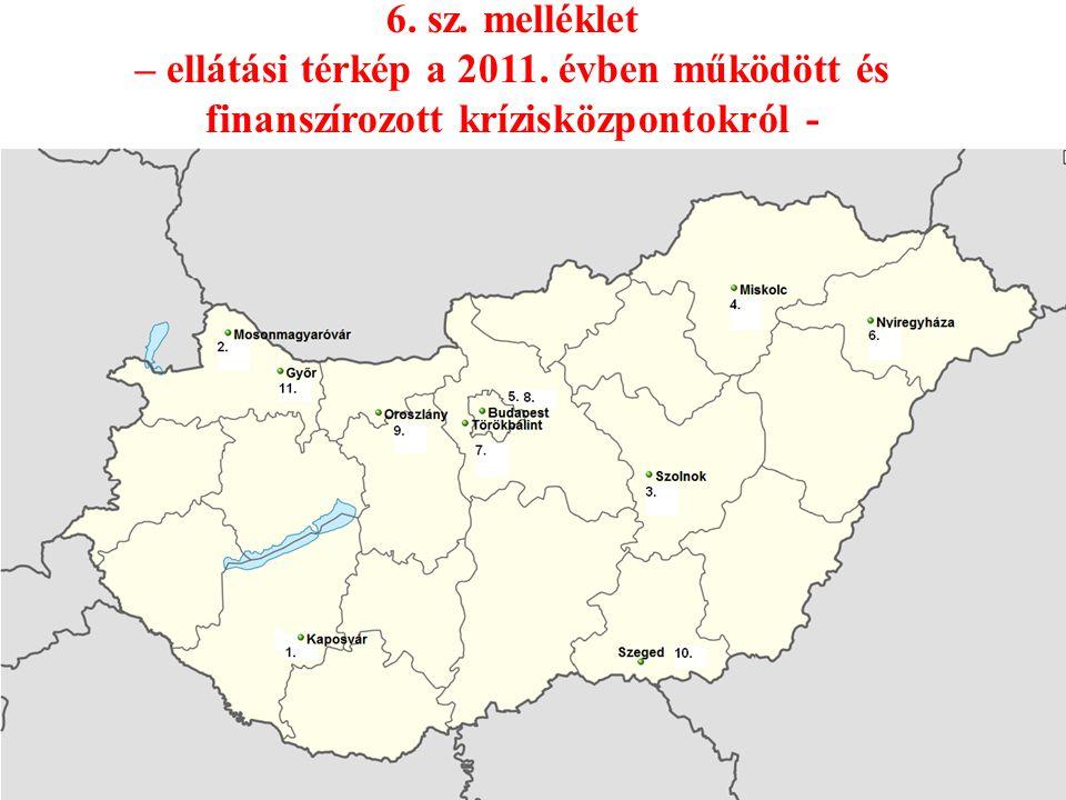 6. sz. melléklet – ellátási térkép a 2011. évben működött és finanszírozott krízisközpontokról -