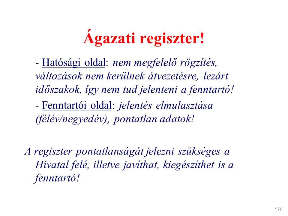 Ágazati regiszter! - Hatósági oldal: nem megfelelő rögzítés, változások nem kerülnek átvezetésre, lezárt időszakok, így nem tud jelenteni a fenntartó!