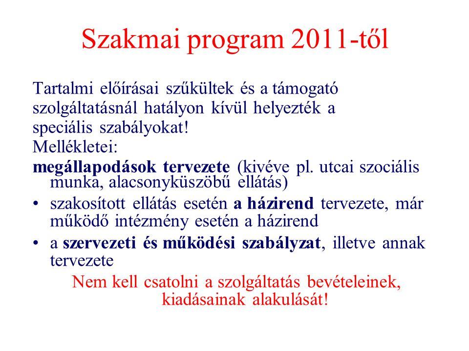 Szakmai program 2011-től Tartalmi előírásai szűkültek és a támogató szolgáltatásnál hatályon kívül helyezték a speciális szabályokat! Mellékletei: meg