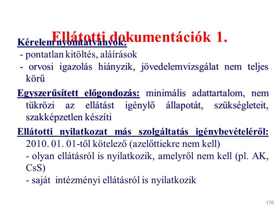 Ellátotti dokumentációk 1. Kérelem nyomtatványok: - pontatlan kitöltés, aláírások - orvosi igazolás hiányzik, jövedelemvizsgálat nem teljes körű - orv