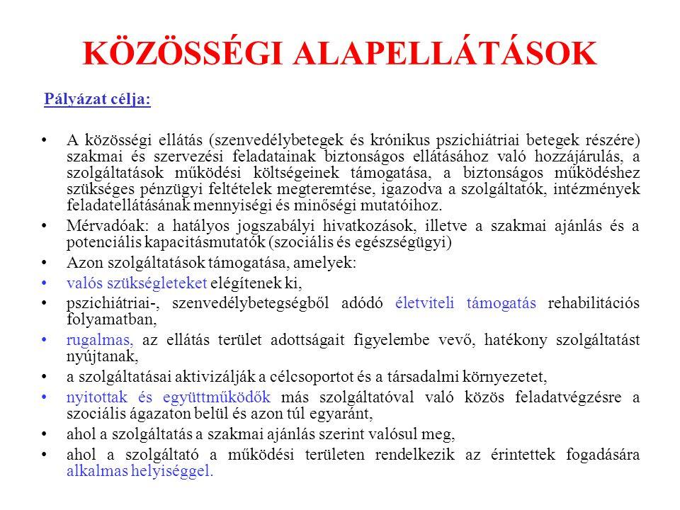 KÖZÖSSÉGI ALAPELLÁTÁSOK Pályázat célja: A közösségi ellátás (szenvedélybetegek és krónikus pszichiátriai betegek részére) szakmai és szervezési felada