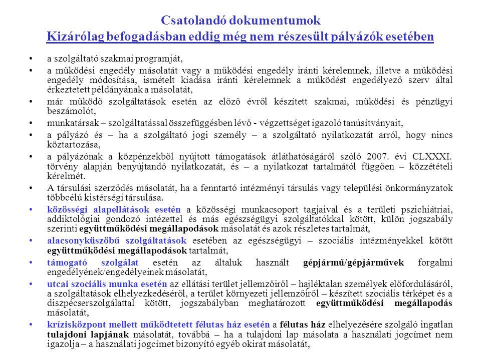 Csatolandó dokumentumok Kizárólag befogadásban eddig még nem részesült pályázók esetében a szolgáltató szakmai programját, a működési engedély másolat