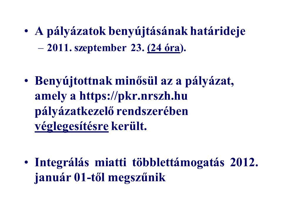 A pályázatok benyújtásának határideje –2011. szeptember 23. (24 óra). Benyújtottnak minősül az a pályázat, amely a https://pkr.nrszh.hu pályázatkezelő