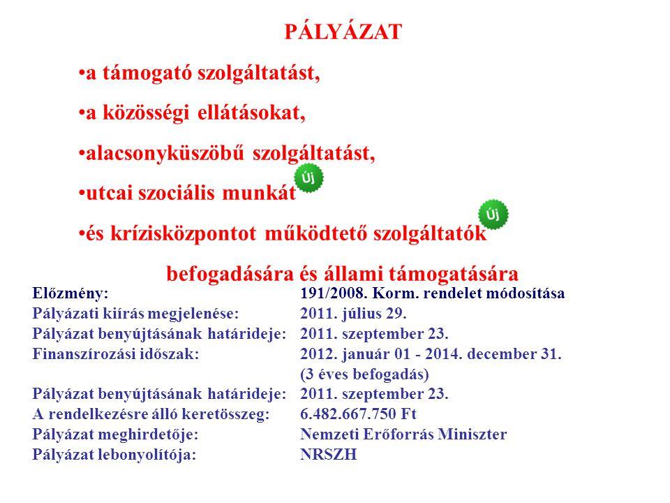 Előzmény: 191/2008. Korm. rendelet módosítása Pályázati kiírás megjelenése: 2011. július 29. Pályázat benyújtásának határideje: 2011. szeptember 23. F