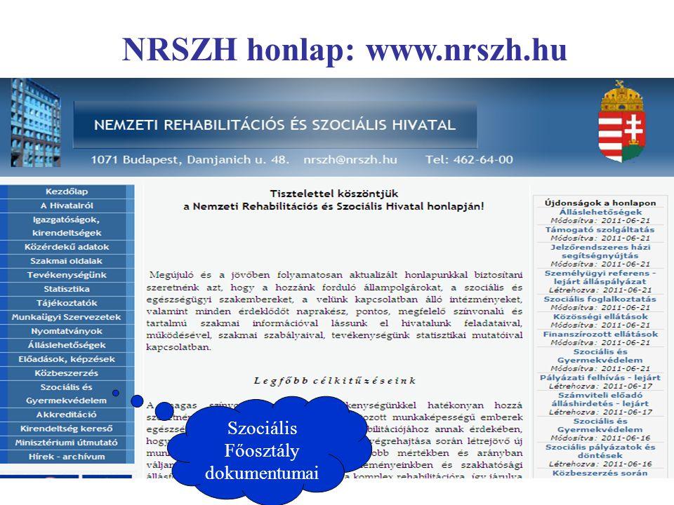 Szociális Főosztály dokumentumai NRSZH honlap: www.nrszh.hu
