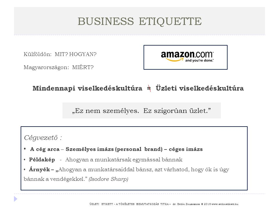 BUSINESS ETIQUETTE ÜZLETI ETIKETT - A TÖKÉLETES BEMUTATKOZÁS TITKA – dr. Erdős Zsuzsanna © 2015 www.erdosetikett.hu Külföldön: MIT? HOGYAN? Magyarorsz