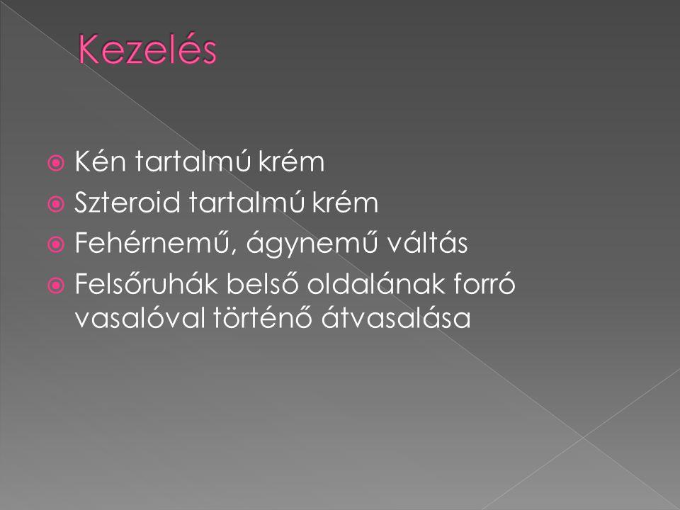  Kén tartalmú krém  Szteroid tartalmú krém  Fehérnemű, ágynemű váltás  Felsőruhák belső oldalának forró vasalóval történő átvasalása