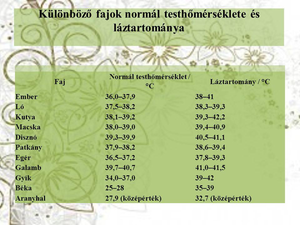 Különböző fajok normál testhőmérséklete és láztartománya Faj Normál testhőmérséklet / °C Láztartomány / °C Ember36,0–37,938–41 Ló37,5–38,238,3–39,3 Ku