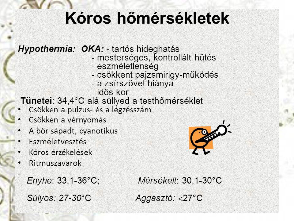 Kóros hőmérsékletek Hypothermia: OKA: - tartós hideghatás - mesterséges, kontrollált hűtés - eszméletlenség - csökkent pajzsmirigy-működés - a zsírszö