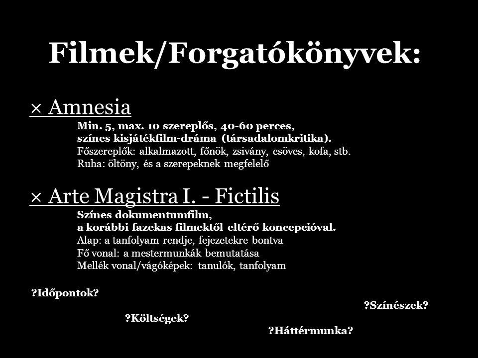 Filmek/Forgatókönyvek: × Amnesia Min. 5, max.