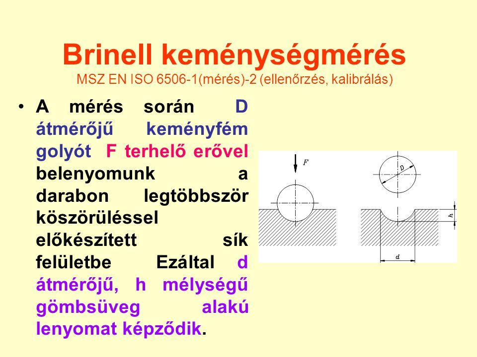 Brinell keménységmérés MSZ EN ISO 6506-1(mérés)-2 (ellenőrzés, kalibrálás) A mérés során D átmérőjű keményfém golyót F terhelő erővel belenyomunk a da