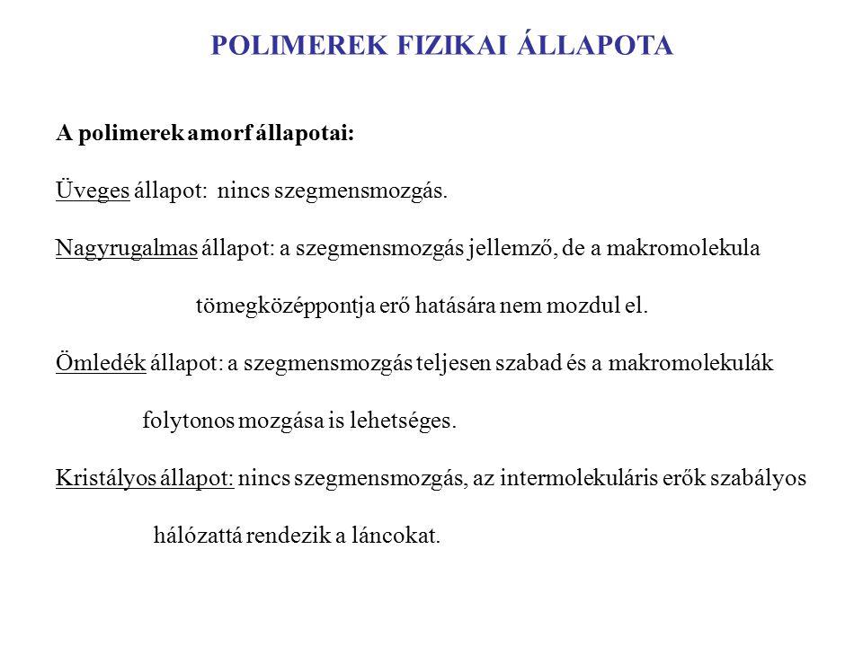 POLIMEREK FIZIKAI ÁLLAPOTA A polimerek amorf állapotai: Üveges állapot: nincs szegmensmozgás.