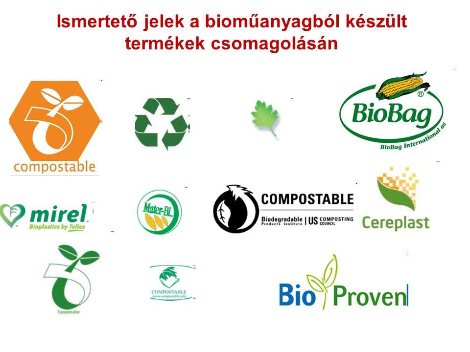 Ismertető jelek a bioműanyagból készült termékek csomagolásán