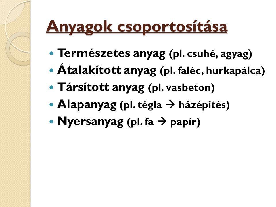 Anyagok csoportosítása Természetes anyag (pl. csuhé, agyag) Átalakított anyag (pl. faléc, hurkapálca) Társított anyag (pl. vasbeton) Alapanyag (pl. té