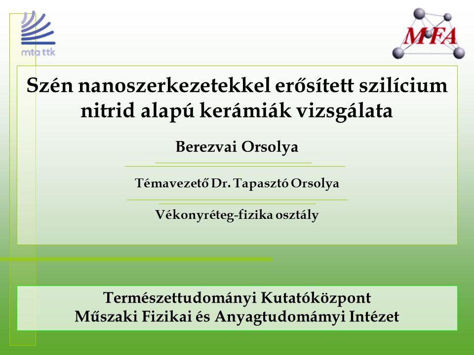 Szén nanoszerkezetekkel erősített szilícium nitrid alapú kerámiák vizsgálata Berezvai Orsolya Témavezető Dr. Tapasztó Orsolya Vékonyréteg-fizika osztá