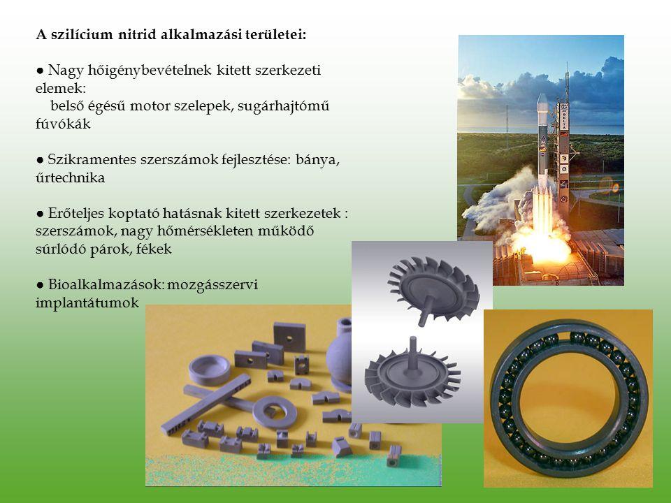 A szilícium nitrid alkalmazási területei: ● Nagy hőigénybevételnek kitett szerkezeti elemek: belső égésű motor szelepek, sugárhajtómű fúvókák ● Szikra