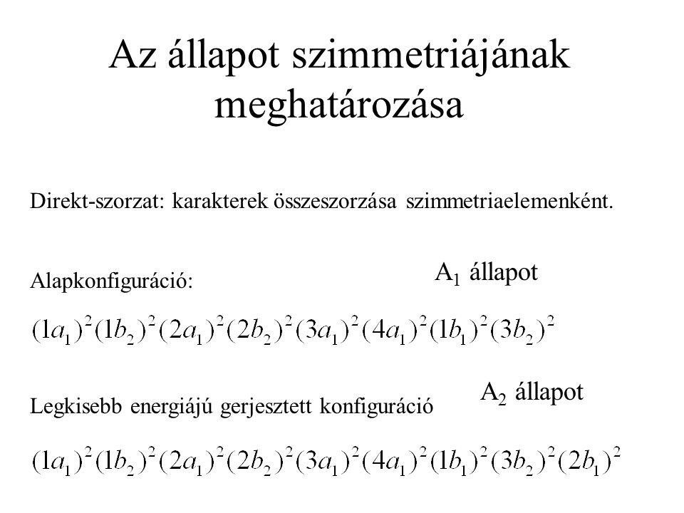 Formaldehid elektronkonfigurációi Alapkonfiguráció: Legkisebb energiájú gerjesztett konfiguráció: n-  * átmenet (1a 1 ) 2 (1b 2 ) 2 (2a 1 ) 2 (2b 2 ) 2 (3a 1 ) 2 (4a 1 ) 2 (1b 1 ) 2 (3b 2 ) 1 (2b 1 ) 2 (1a 1 ) 2 (1b 2 ) 2 (2a 1 ) 2 (2b 2 ) 2 (3a 1 ) 2 (4a 1 ) 2 (1b 1 ) 2 (3b 2 ) 2