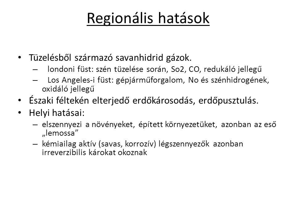 Regionális hatások Tüzelésből származó savanhidrid gázok. – londoni füst: szén tüzelése során, So2, CO, redukáló jellegű – Los Angeles-i füst: gépjárm