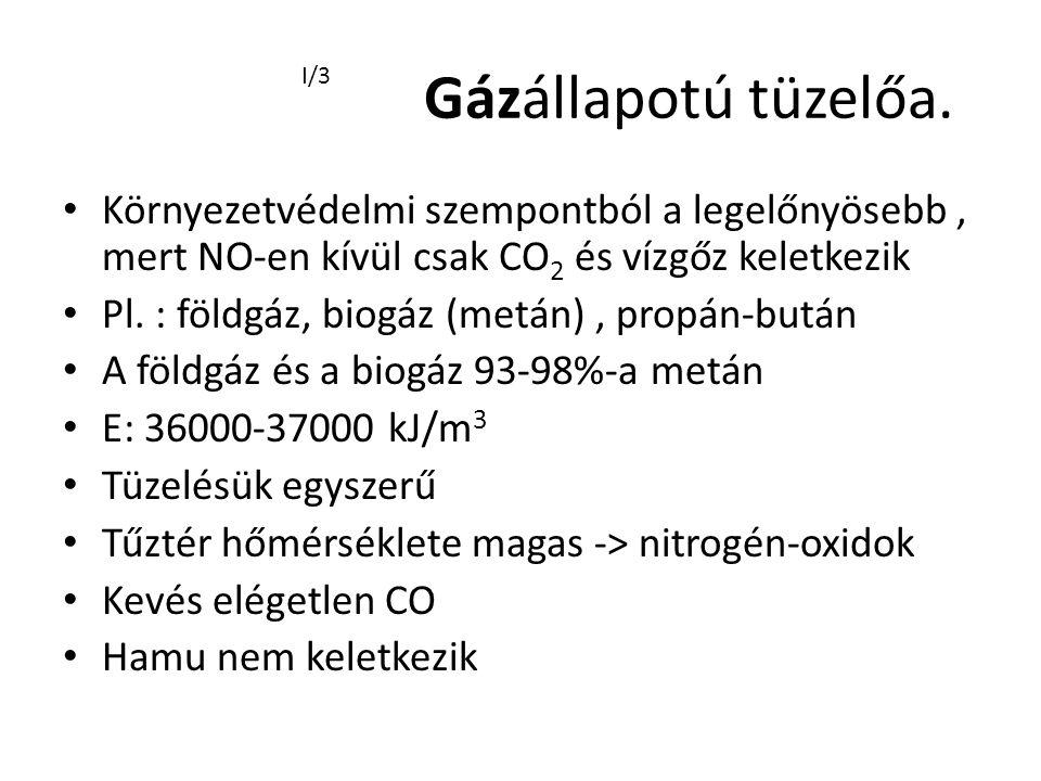 Gázállapotú tüzelőa. Környezetvédelmi szempontból a legelőnyösebb, mert NO-en kívül csak CO 2 és vízgőz keletkezik Pl. : földgáz, biogáz (metán), prop