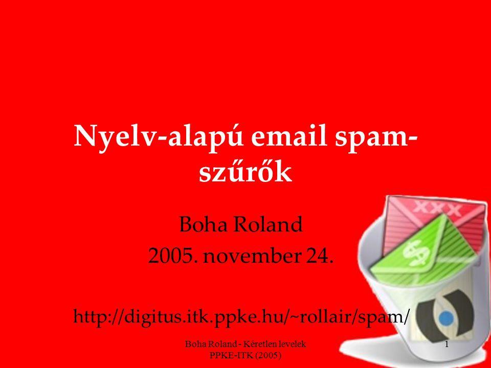 Boha Roland - Kéretlen levelek PPKE-ITK (2005) 22 Minta és szabálycsere Hatékonyság: felismerési és vakriasztási arányból Változékonyság, adaptivitás A spam küldője is ember: alkalmazkodik, változtat A tisztán statisztikai alapú szűrőknél nem kell frissíteni, csak tanítani, tanítani….