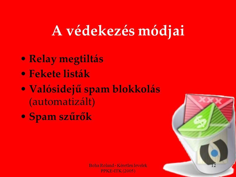 Boha Roland - Kéretlen levelek PPKE-ITK (2005) 12 A védekezés módjai Relay megtiltás Fekete listák Valósidejű spam blokkolás (automatizált) Spam szűrők