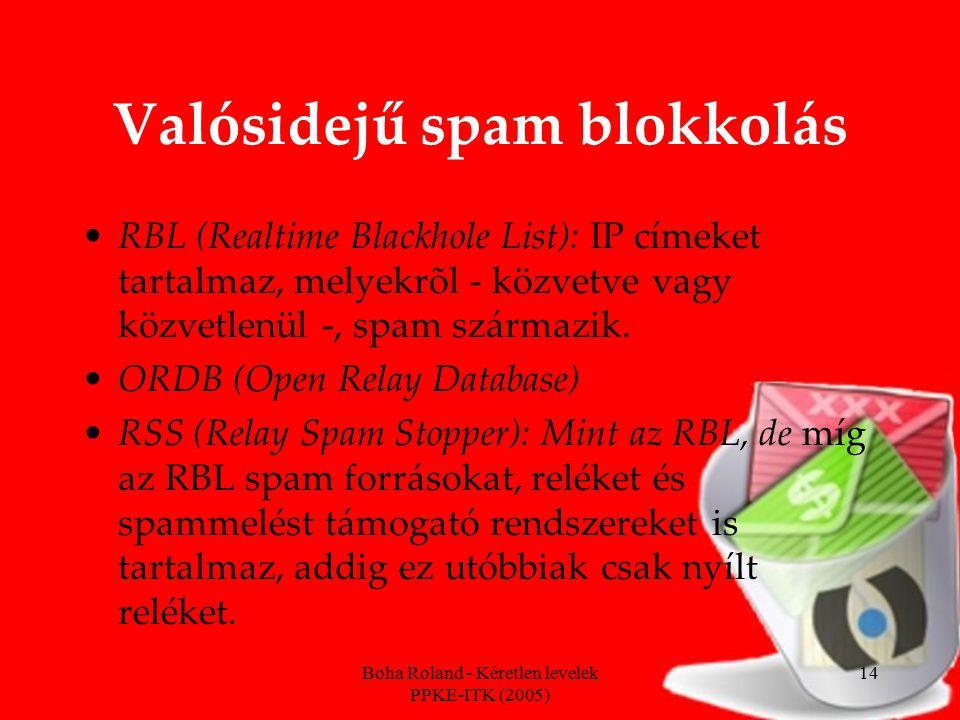 Boha Roland - Kéretlen levelek PPKE-ITK (2005) 14 Valósidejű spam blokkolás RBL (Realtime Blackhole List): IP címeket tartalmaz, melyekrõl - közvetve vagy közvetlenül -, spam származik.