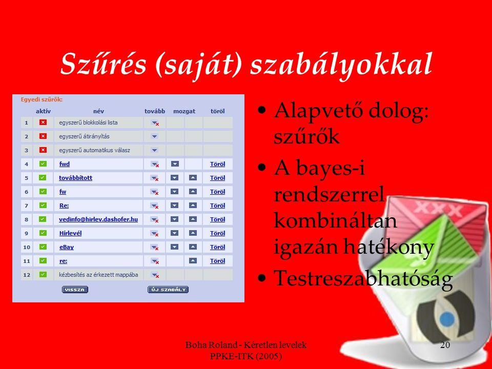 Boha Roland - Kéretlen levelek PPKE-ITK (2005) 20 Szűrés (saját) szabályokkal Alapvető dolog: szűrők A bayes-i rendszerrel kombináltan igazán hatékony Testreszabhatóság