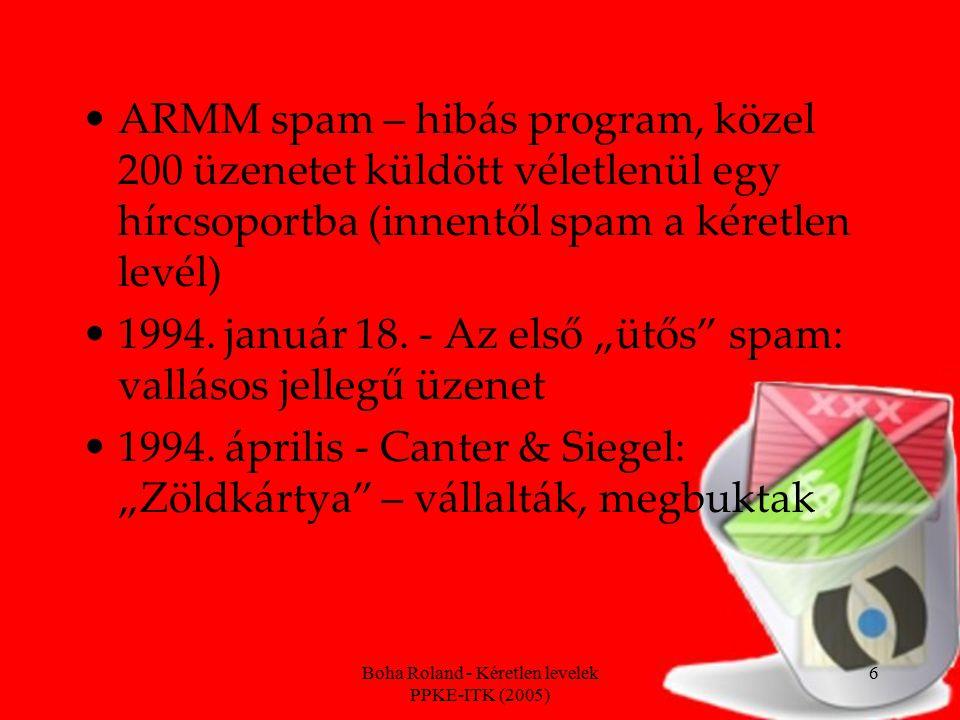 """Boha Roland - Kéretlen levelek PPKE-ITK (2005) 7 A spam napjainkban Számos vírus is """"keveredik az ilyen levelekbe Spamzombik A teljes email forgalom 50-60 százalékát teszi ki """"A spam 2003-ban világszerte 20,5 milliárd dolláros kárt okozott"""
