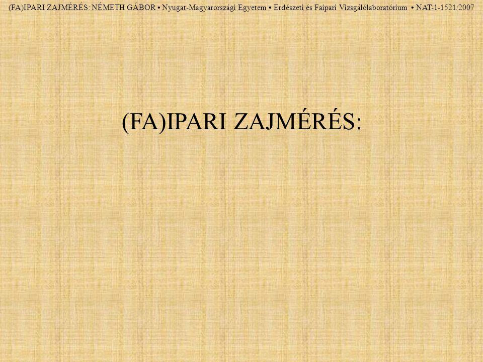 (FA)IPARI ZAJMÉRÉS: NÉMETH GÁBOR Nyugat-Magyarországi Egyetem Erdészeti és Faipari Vizsgálólaboratórium NAT-1-1521/2007 (FA)IPARI ZAJMÉRÉS: