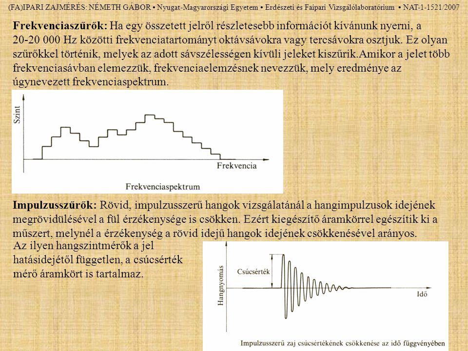 (FA)IPARI ZAJMÉRÉS: NÉMETH GÁBOR Nyugat-Magyarországi Egyetem Erdészeti és Faipari Vizsgálólaboratórium NAT-1-1521/2007 Frekvenciaszűrők: Ha egy össze