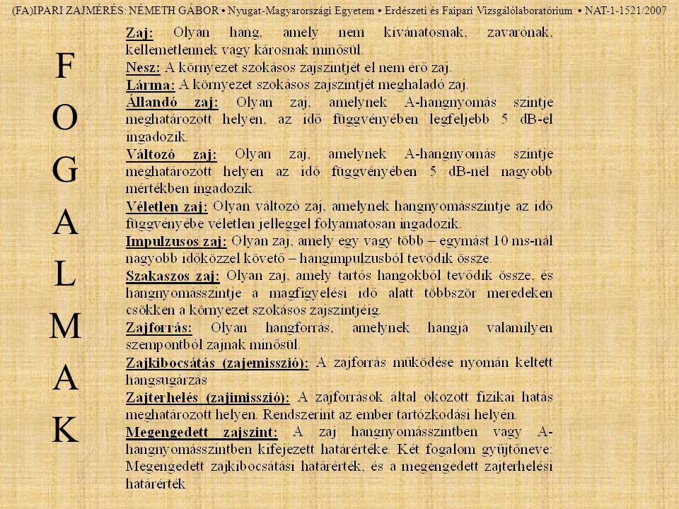 (FA)IPARI ZAJMÉRÉS: NÉMETH GÁBOR Nyugat-Magyarországi Egyetem Erdészeti és Faipari Vizsgálólaboratórium NAT-1-1521/2007 FOGALMAKFOGALMAK