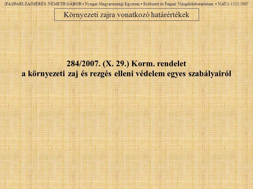 (FA)IPARI ZAJMÉRÉS: NÉMETH GÁBOR Nyugat-Magyarországi Egyetem Erdészeti és Faipari Vizsgálólaboratórium NAT-1-1521/2007 Környezeti zajra vonatkozó hat