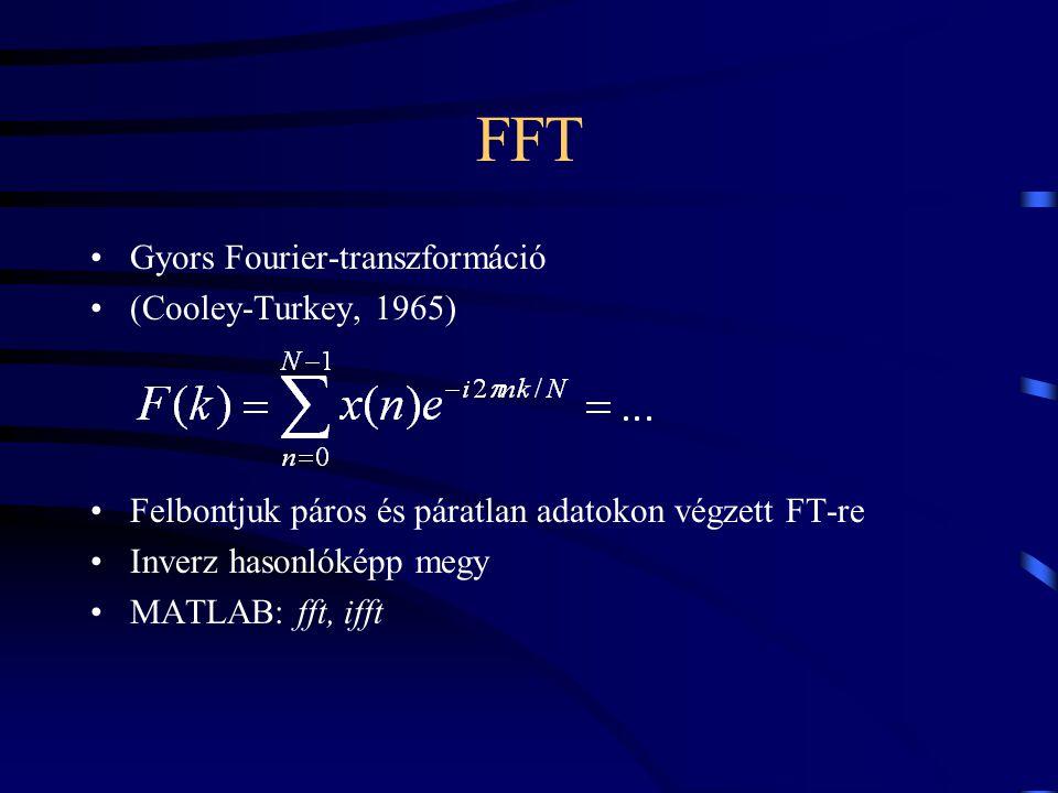 FFT Gyors Fourier-transzformáció (Cooley-Turkey, 1965) Felbontjuk páros és páratlan adatokon végzett FT-re Inverz hasonlóképp megy MATLAB: fft, ifft