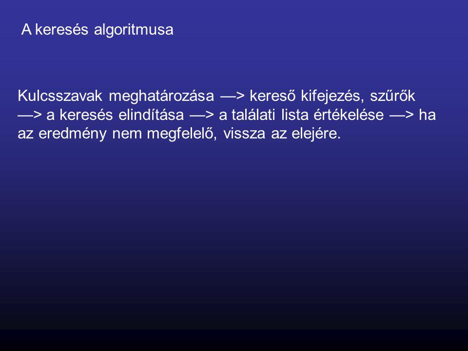 A keresés algoritmusa Kulcsszavak meghatározása —> kereső kifejezés, szűrők —> a keresés elindítása —> a találati lista értékelése —> ha az eredmény n