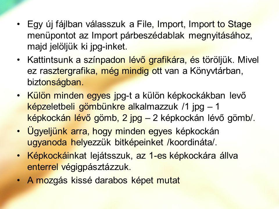 Egy új fájlban válasszuk a File, Import, Import to Stage menüpontot az Import párbeszédablak megnyitásához, majd jelöljük ki jpg-inket. Kattintsunk a