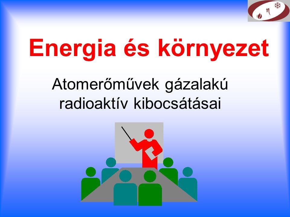 Energia és környezet Atomerőművek gázalakú radioaktív kibocsátásai