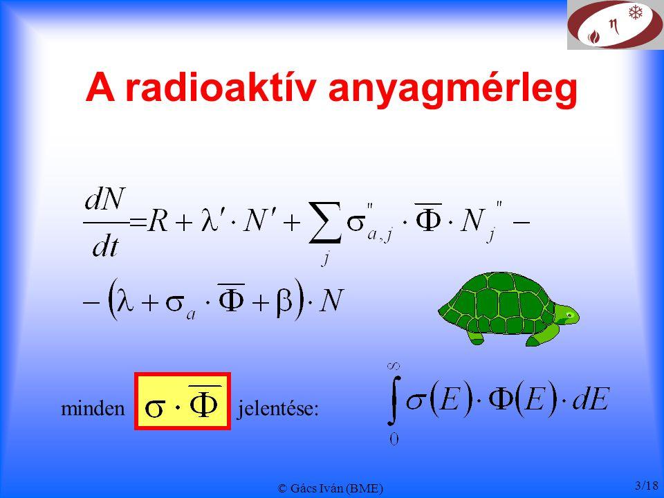© Gács Iván (BME) 3/18 A radioaktív anyagmérleg minden jelentése: