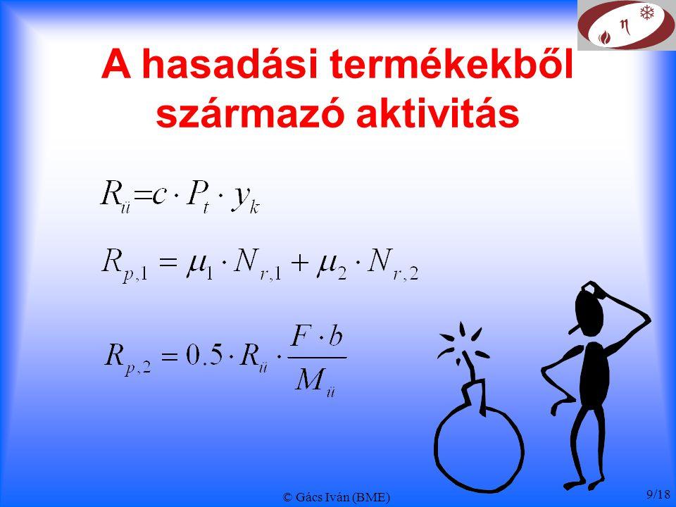 © Gács Iván (BME) 10/18 Hűtővíz trícium aktivitása deutérium felaktiválódása,  saját aktivitás hármas hasadás,  hasadási termék, U 235 : 0,013%, Pu 239 : 0,023% bór reakciói  B 10 (n,  )Li 7 (n,n  )T   : 2500 b, <0.1 b  B 10 (n,2  ) T   : <0.1 b PRIMERKÖR bór n.T hűtővíz A hasadóanyag D üz.a.