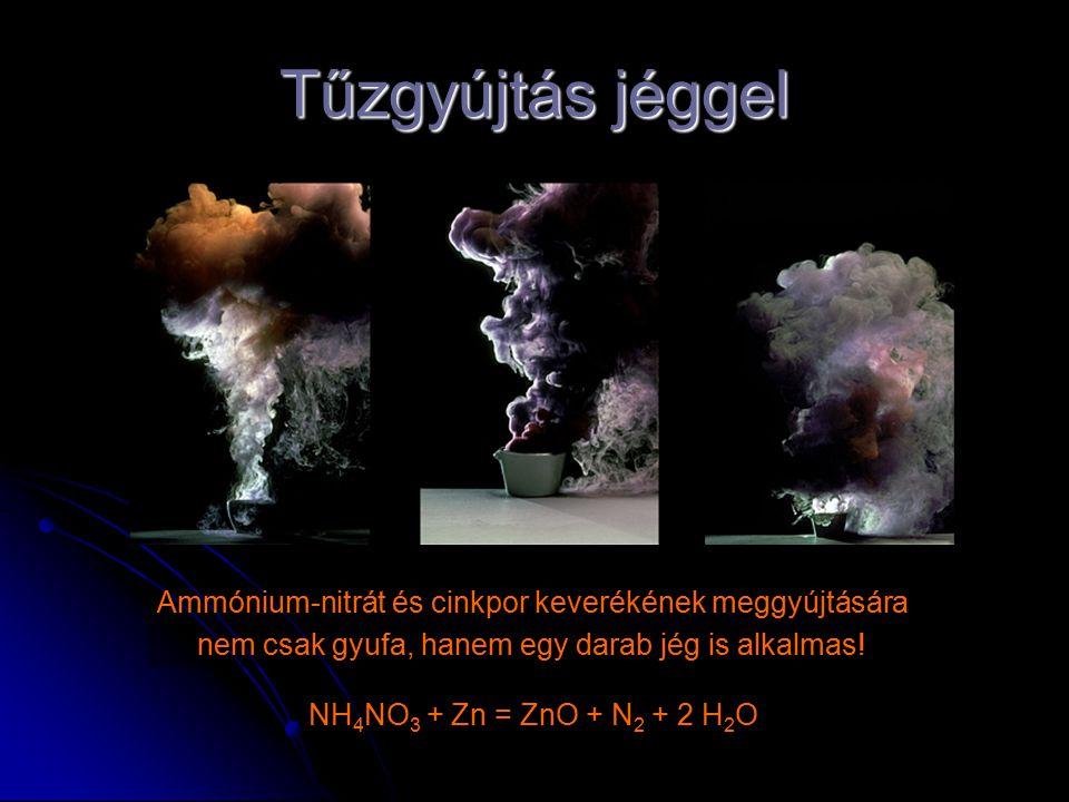 Tűzgyújtás jéggel Ammónium-nitrát és cinkpor keverékének meggyújtására nem csak gyufa, hanem egy darab jég is alkalmas! NH 4 NO 3 + Zn = ZnO + N 2 + 2