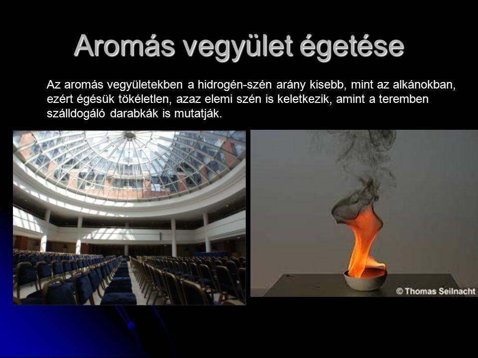 Aromás vegyület égetése Az aromás vegyületekben a hidrogén-szén arány kisebb, mint az alkánokban, ezért égésük tökéletlen, azaz elemi szén is keletkez