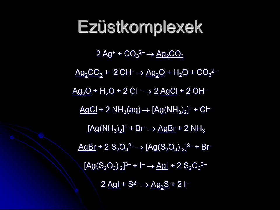 Ezüstkomplexek 2 Ag + + CO 3 2–  Ag 2 CO 3 Ag 2 CO 3 + 2 OH –  Ag 2 O + H 2 O + CO 3 2– Ag 2 CO 3 + 2 OH –  Ag 2 O + H 2 O + CO 3 2– Ag 2 O + H 2 O