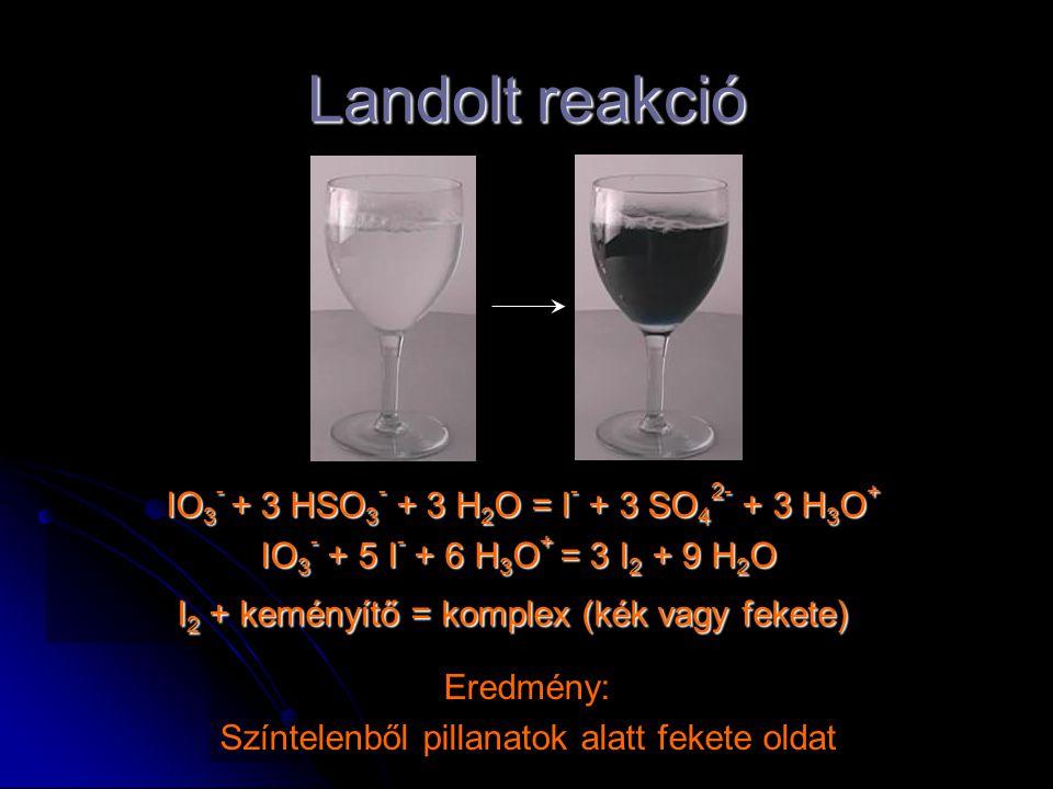 Landolt reakció IO 3 - + 3 HSO 3 - + 3 H 2 O = I - + 3 SO 4 2- + 3 H 3 O + IO 3 - + 5 I - + 6 H 3 O + = 3 I 2 + 9 H 2 O IO 3 - + 5 I - + 6 H 3 O + = 3