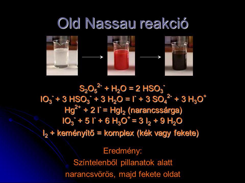 Old Nassau reakció S 2 O 5 2- + H 2 O = 2 HSO 3 - S 2 O 5 2- + H 2 O = 2 HSO 3 - IO 3 - + 3 HSO 3 - + 3 H 2 O = I - + 3 SO 4 2- + 3 H 3 O + Hg 2+ + 2